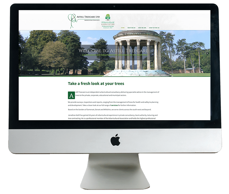 Astill Treecare Website on iMac by Digiwool Web Design Sherborne
