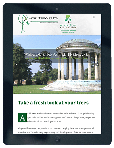 Astill Treecare Website on iPad by Digiwool Web Design Sherborne