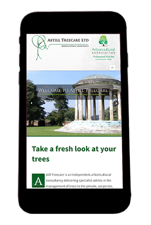 Astill Treecare Website on iPhone by Digiwool Web Design Sherborne