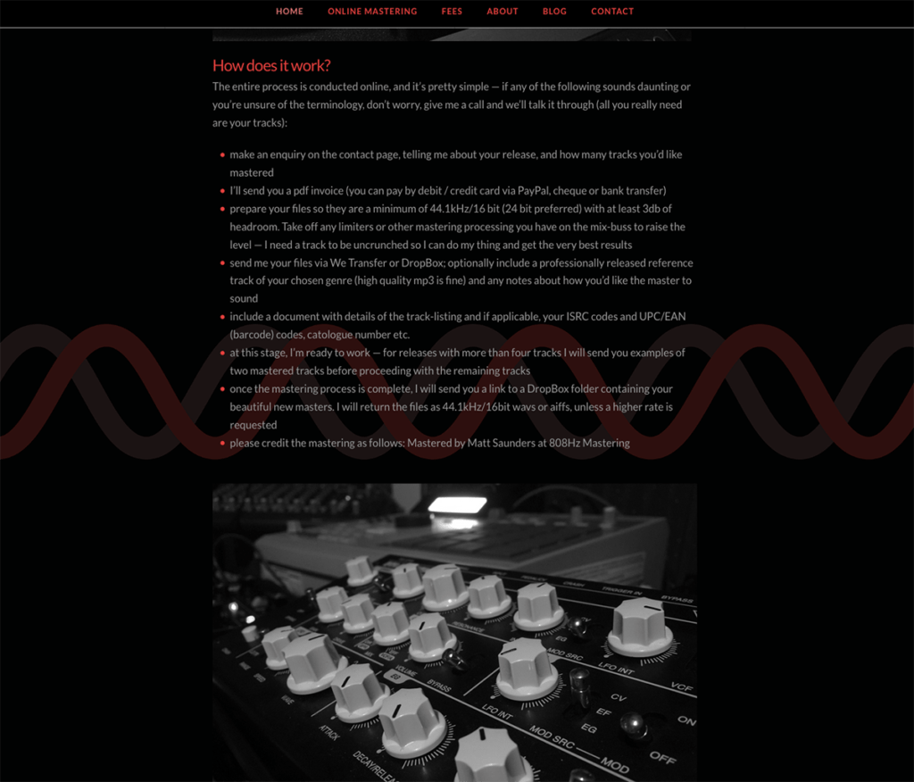 808Hz Mastering How Does it Work Page, Website by Digiwool