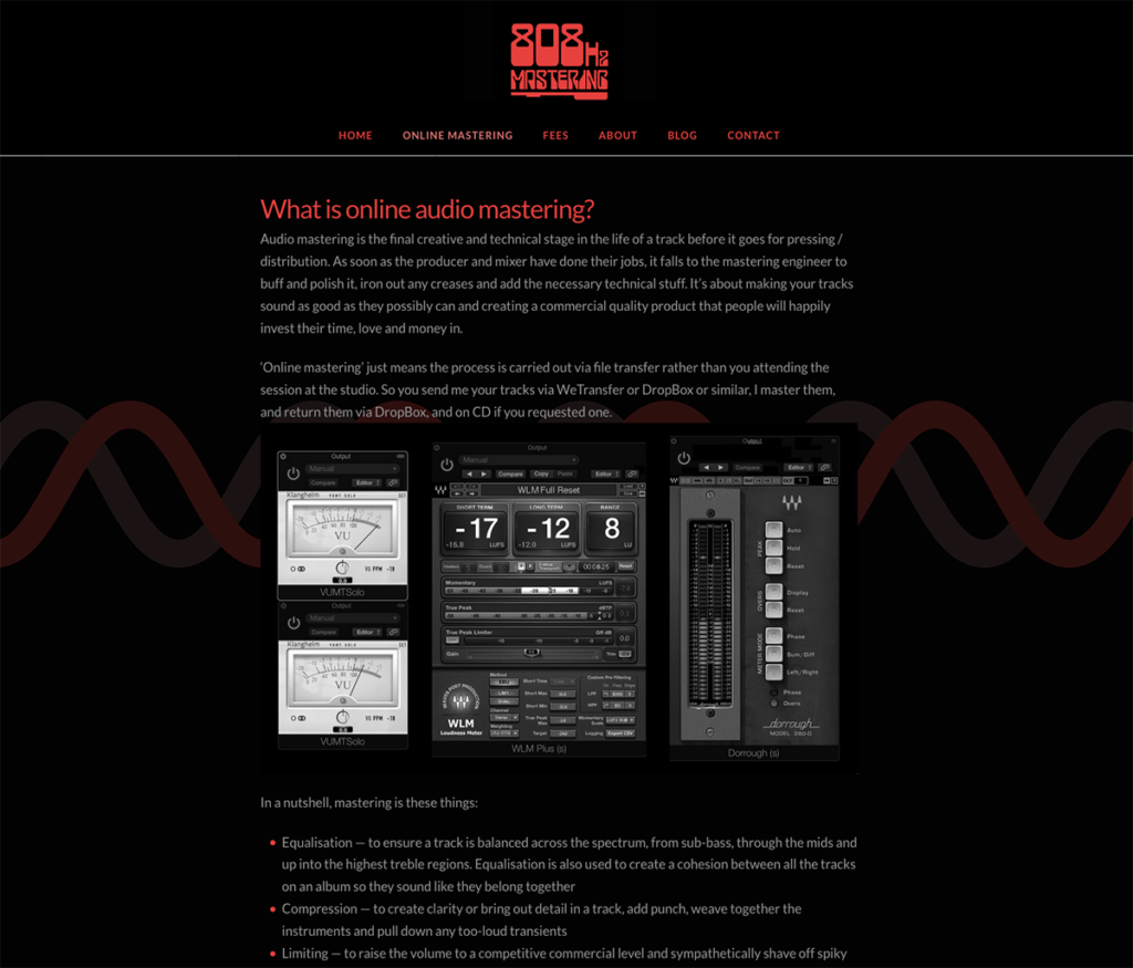 808Hz Mastering What is Online Mastering Page, Website by Digiwool