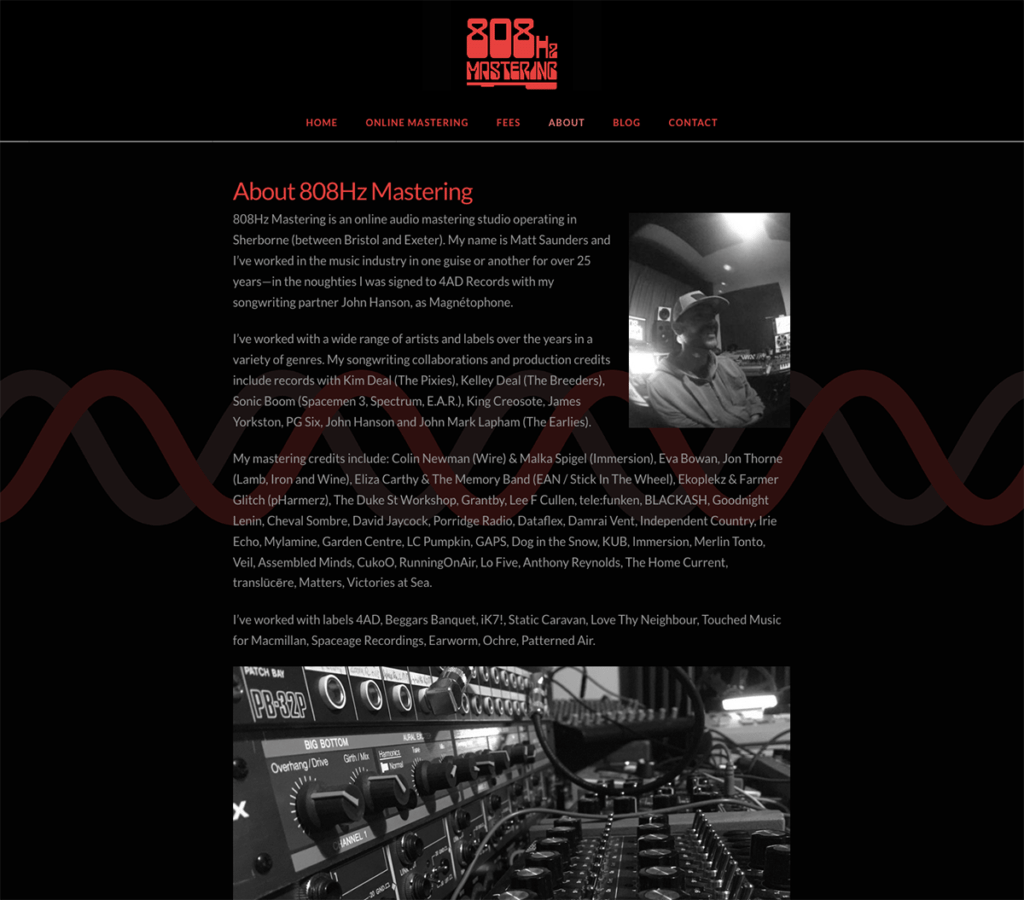 808Hz Mastering About Us Page, Website by Digiwool