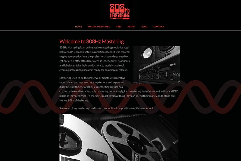 808Hz Mastering - Logo and Web Design Dorset