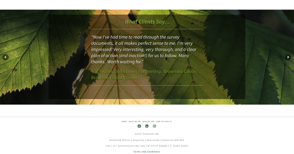 Astill Treecare What Clients Say by Digiwool Web Design Sherborne