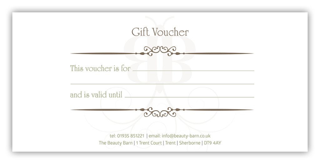 The Beauty Barn Gift Voucher Reverse Design by Digiwool Sherborne
