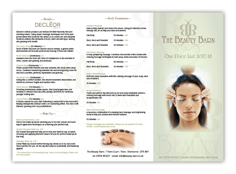 The Beauty Barn Price List Design by Digiwool Sherborne