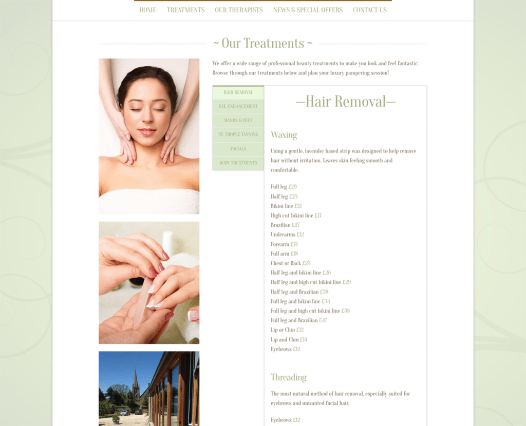 The Beauty Barn Treatements Page by Digiwool Web Design