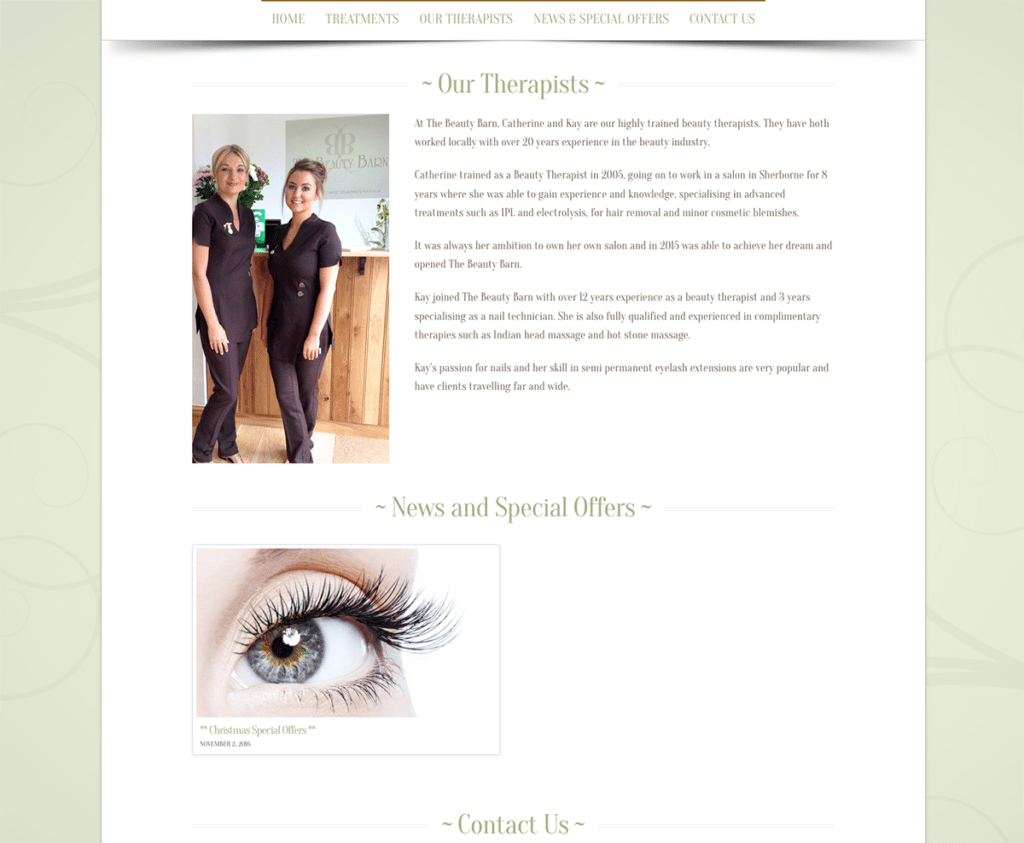 The Beauty Barn Our Therapists Page by Digiwool Web Design