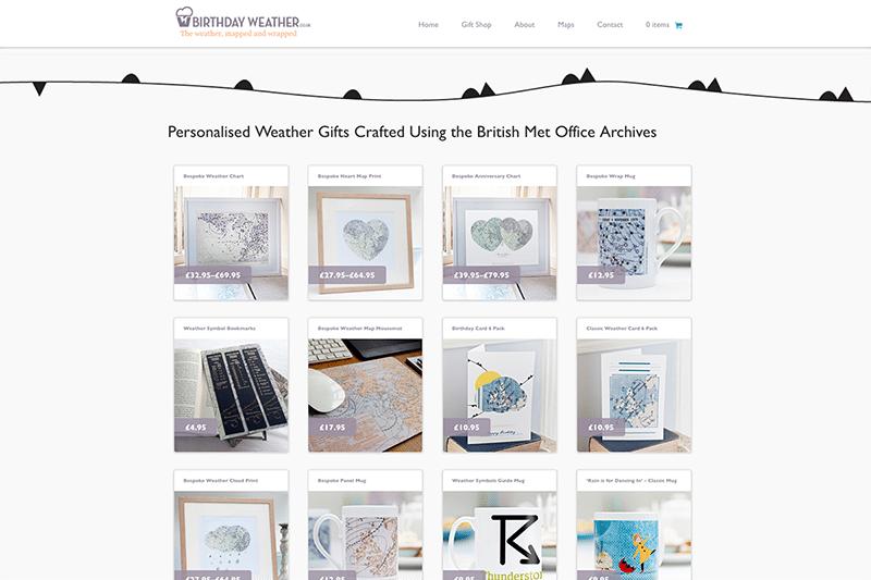 Birthday Weather - Logo and eCommerce Web Design Dorset