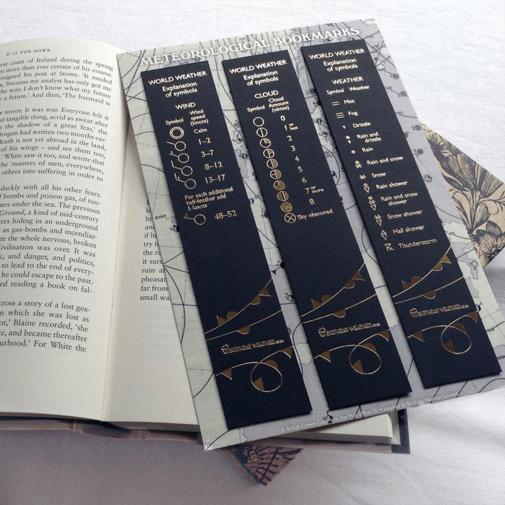 Birthday Weather Bookmarks Product Design Sherborne