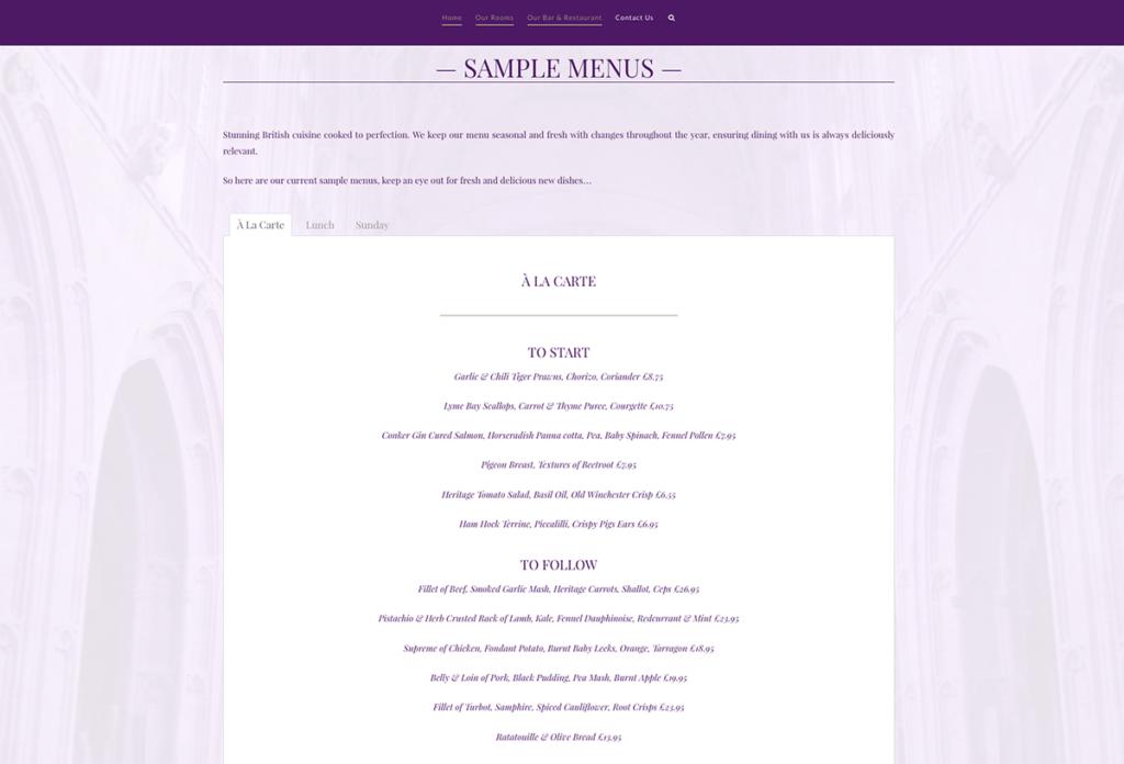 The Britannia Inn Hotel Sherborne Web Design Sample Menus