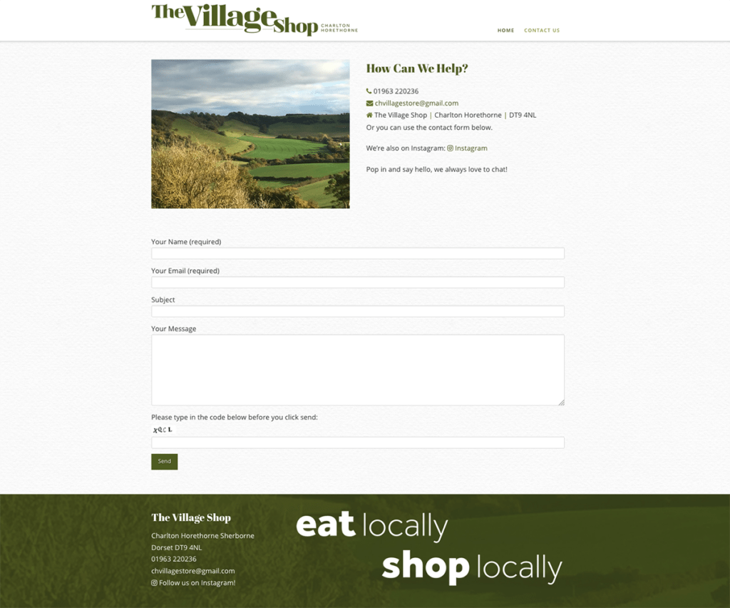 Charlton Horethorne Village Shop Web Design Sherborne Contact