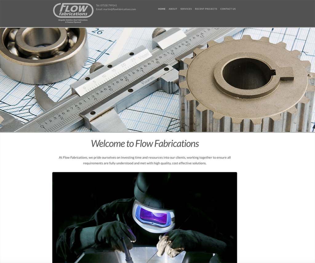 Flow Fabrications Web Design Sherborne Home Page Top