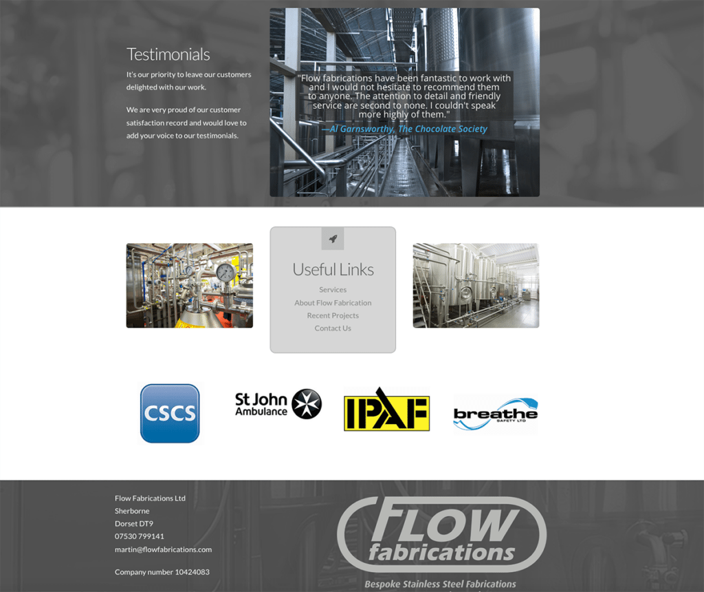 Flow Fabrications Web Design Sherborne Home Page Bottom