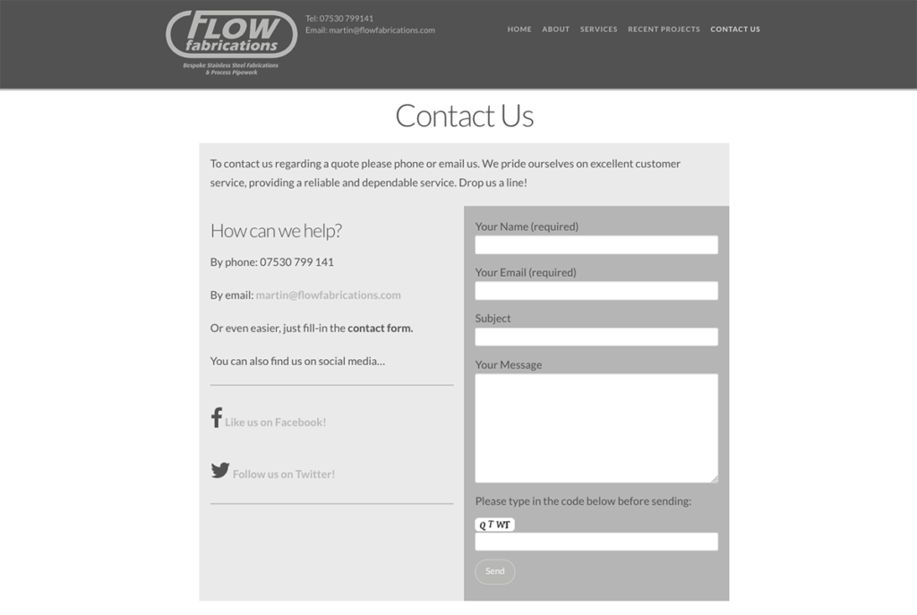 Flow Fabrications Contact Page