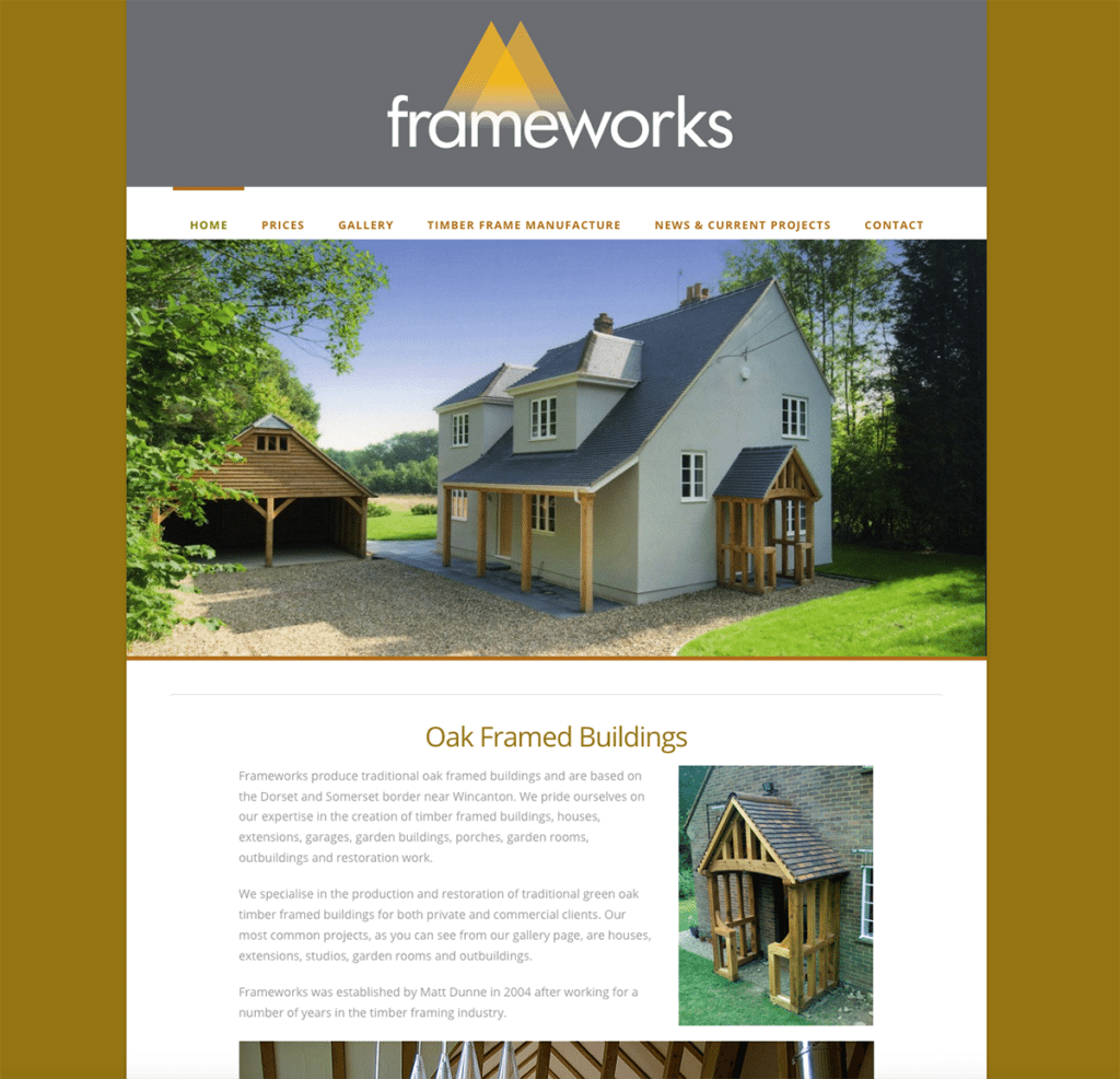 Frameworks — Web Design Dorset Oak Frame Buildings