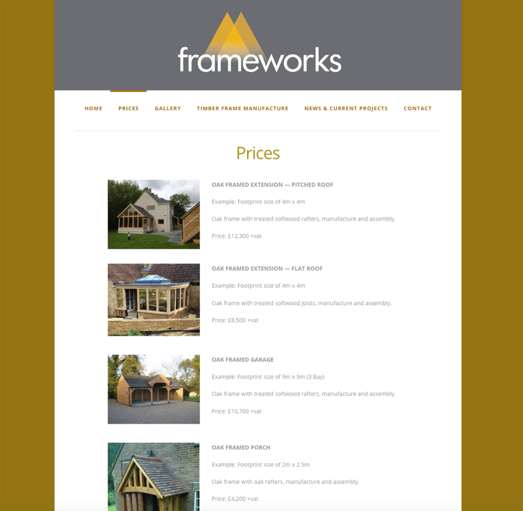 Frameworks — Web Design Dorset Prices