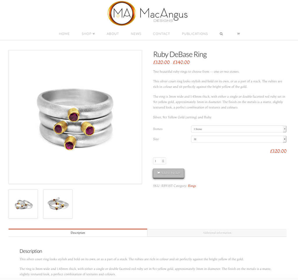 MacAngus Designs E-commerce Product Page Web Design by Digiwool