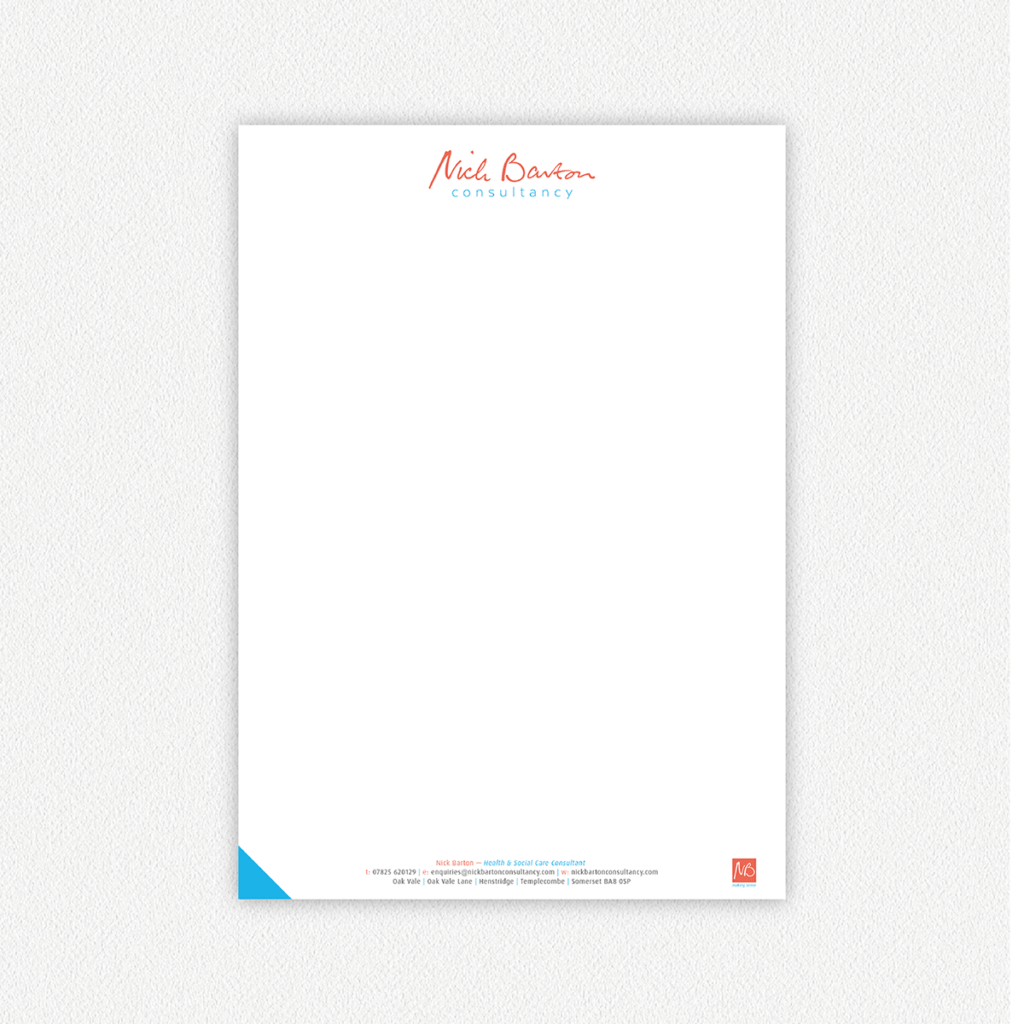 Nick Barton Consultancy — Letterhead Design Dorset