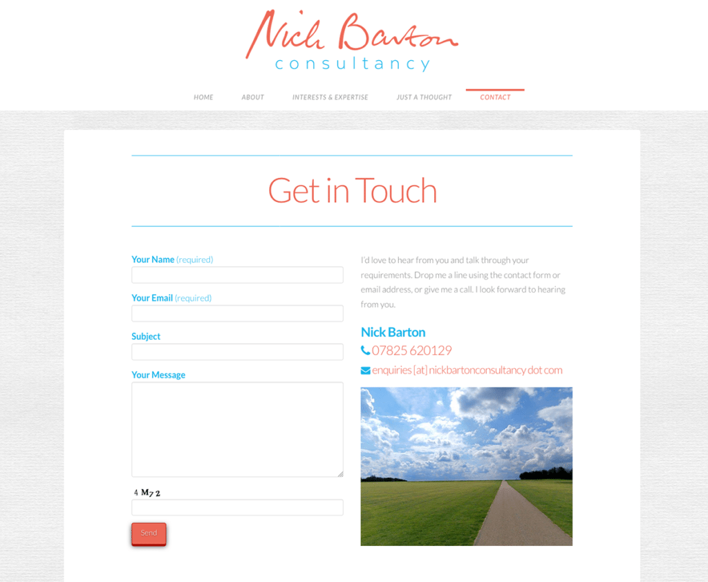 Nick Barton Consultancy — Brochure Web Design Sherborne Contact