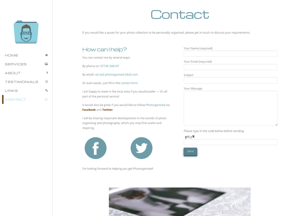 Photorganised Contact Page Design by Digiwool Web Design
