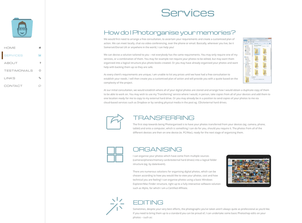 Photorganised Servicest Page Design by Digiwool Web Design
