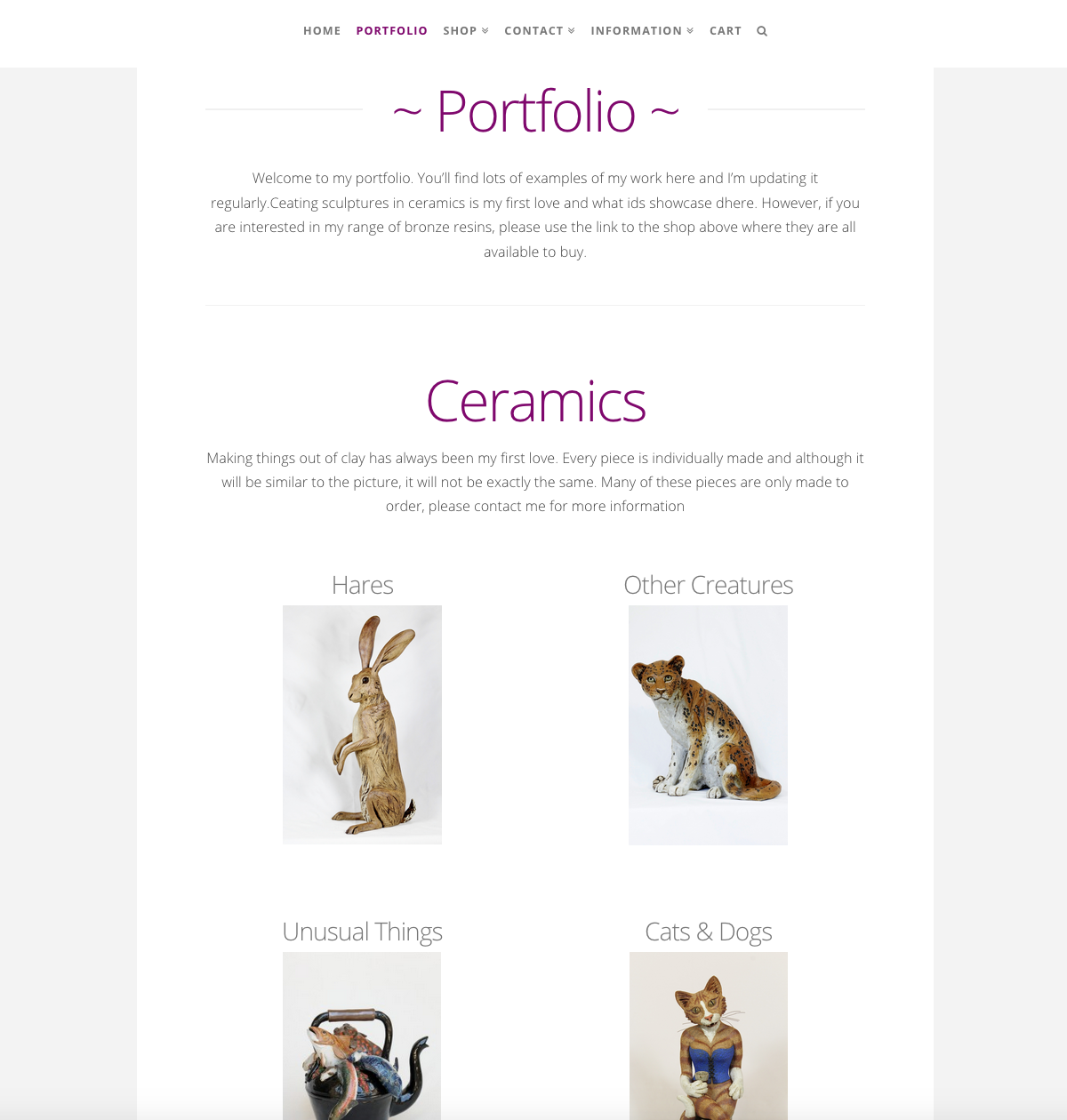 Pippa Hill Sculpture Portfolio Web Design Sherborne Dorset Ceramics