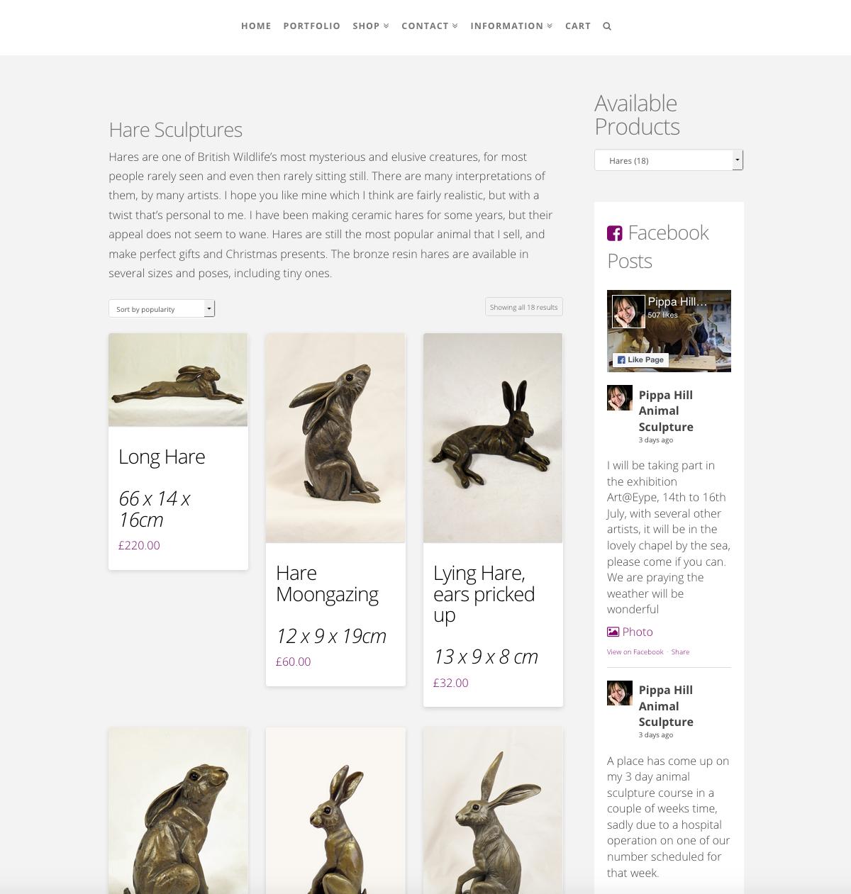 Pippa Hill Sculpture Portfolio Web Design Sherborne Dorset eCommerce Products