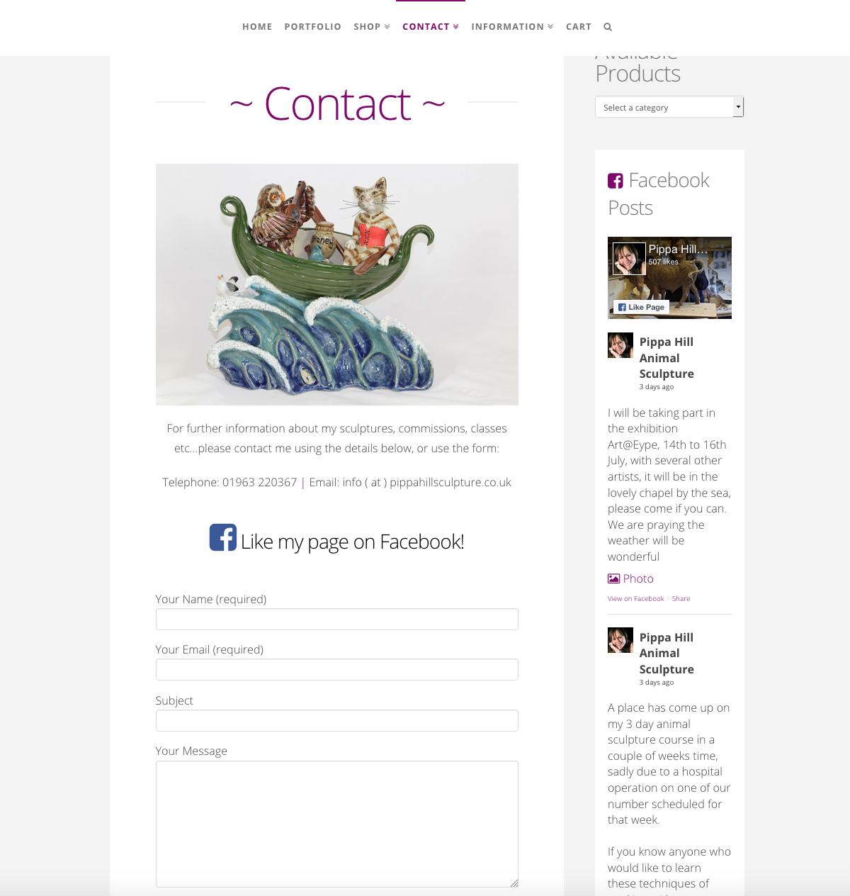 Pippa Hill Sculpture Portfolio Web Design Sherborne Dorset Contact
