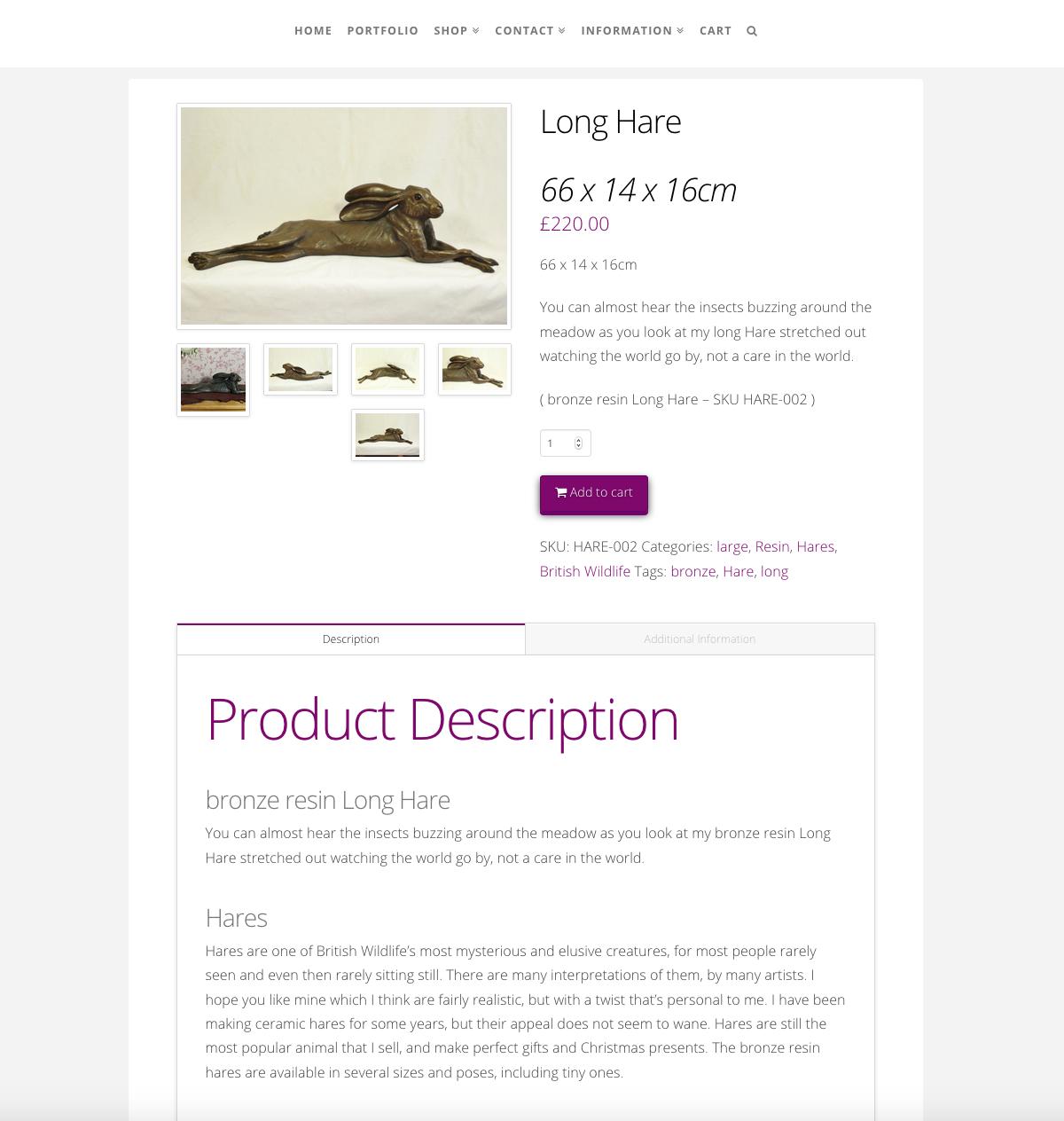 Pippa Hill Sculpture Portfolio eCommerce Web Design Sherborne Dorset Product Page
