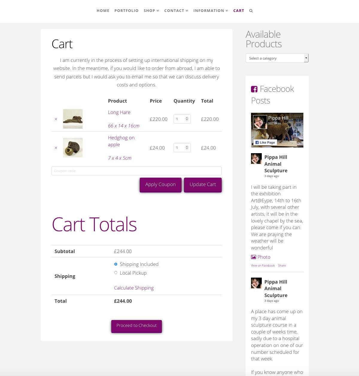Pippa Hill Sculpture Portfolio eCommerce Web Design Sherborne Dorset Cart Basket