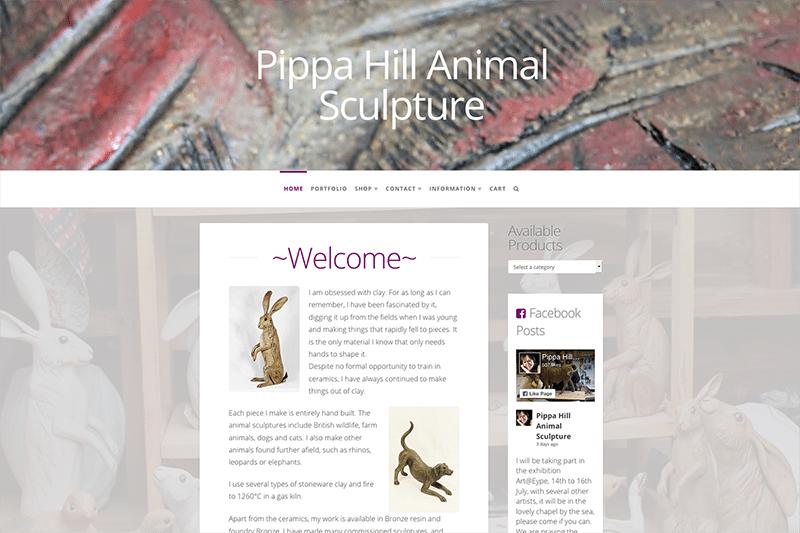 Pippa Hill Sculpture Artist's Portfolio Website Design Dorset