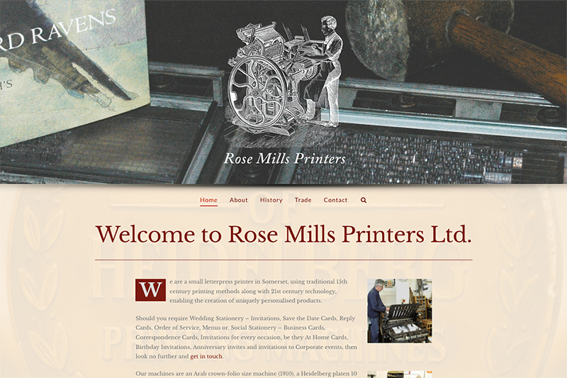 Rose Mills Printers Yeovil - Digiwool Web Design