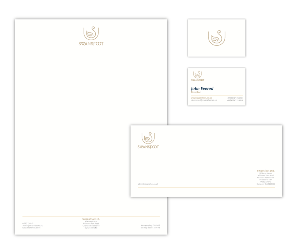 Swansfoot Letterhead, Business Card & Compliments Slip Design by Digiwool