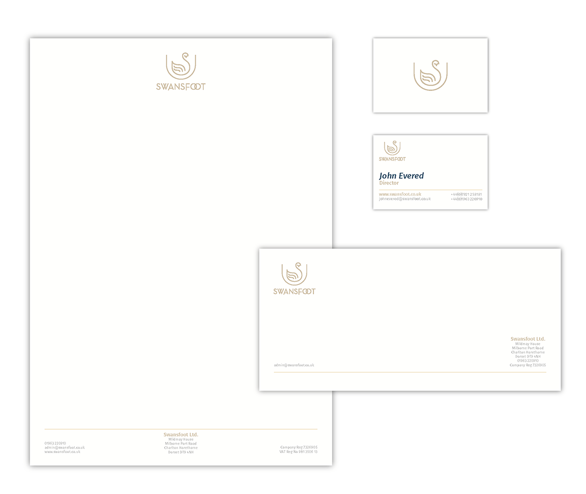 Swansfoot Letterhead Business Card Compliments Slip Design by Digiwool