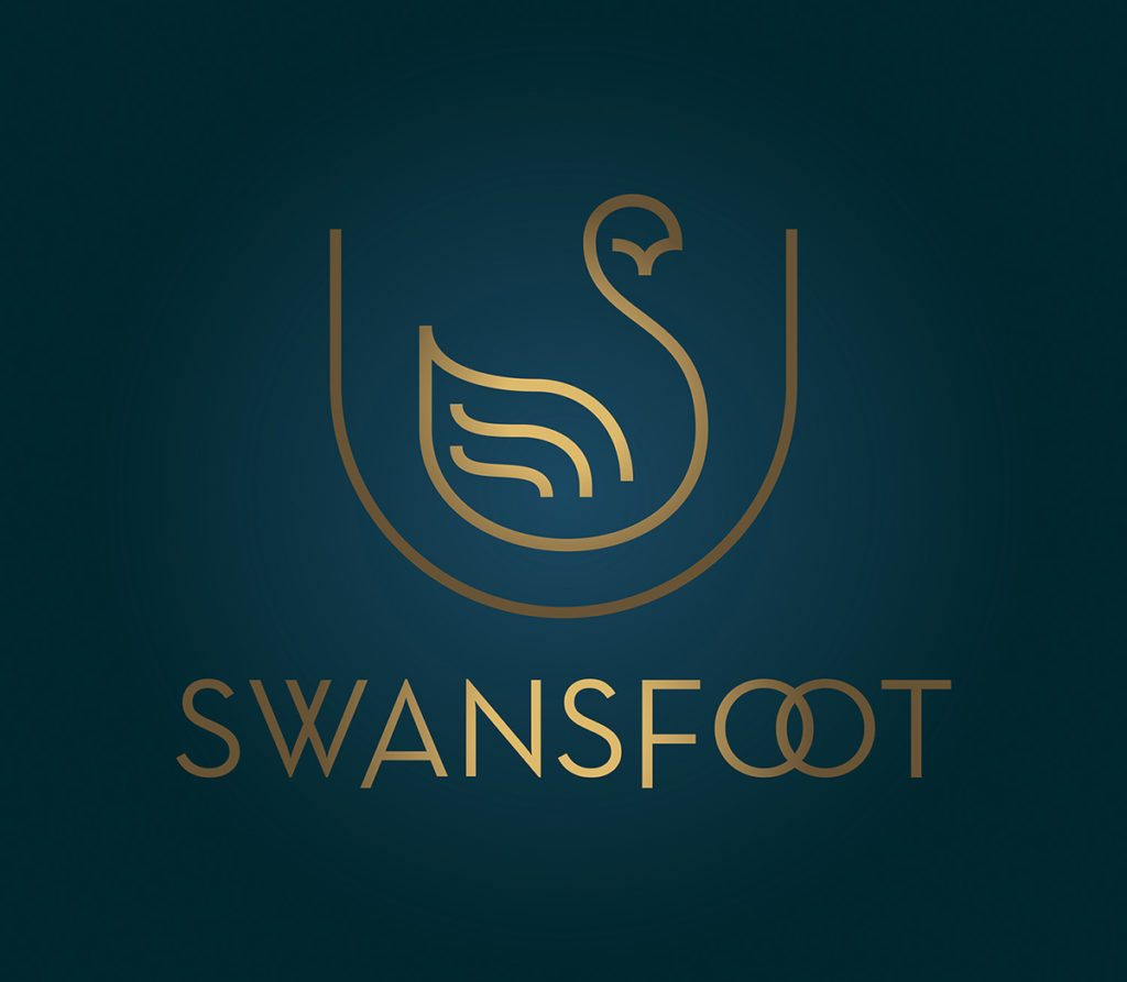 Swansfoot Blue & Gold Logo Design by Digiwool