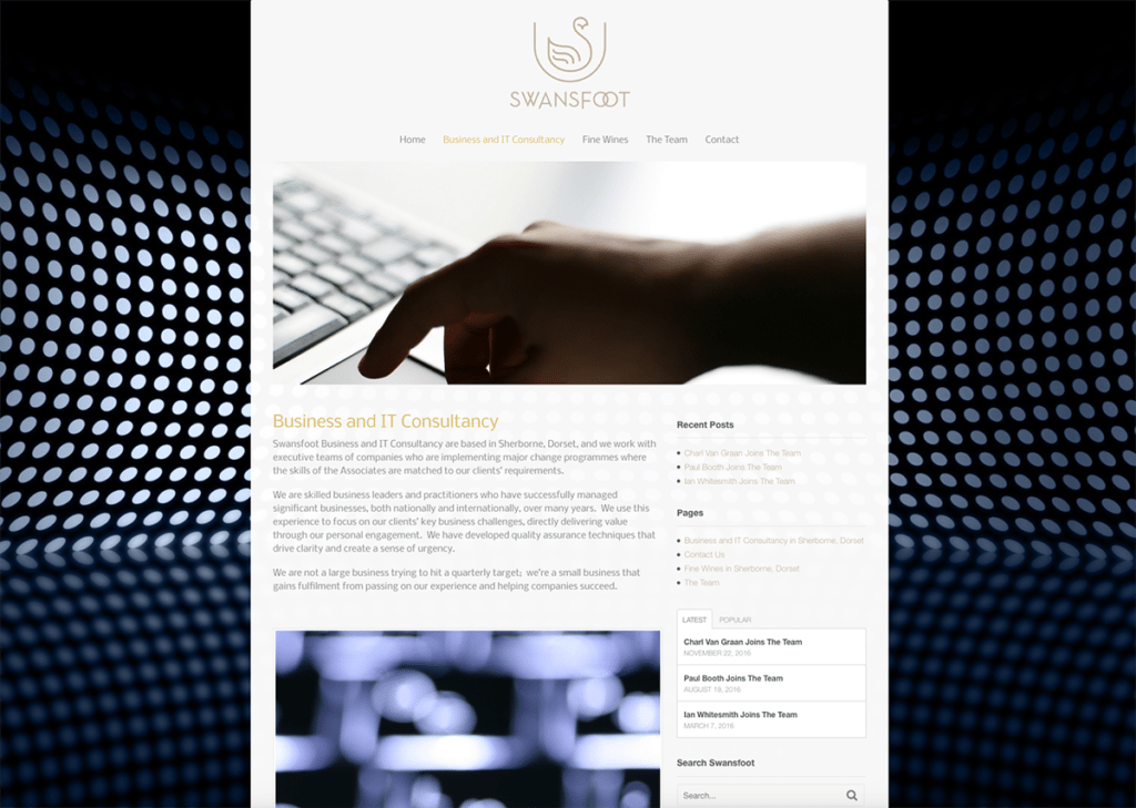 Swansfoot Business & IT Consultancy Website Design by Digiwool