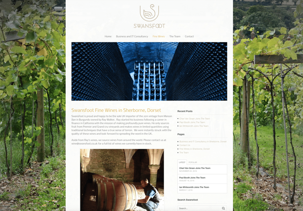 Swansfoot Fine Wines Website Design by Digiwool