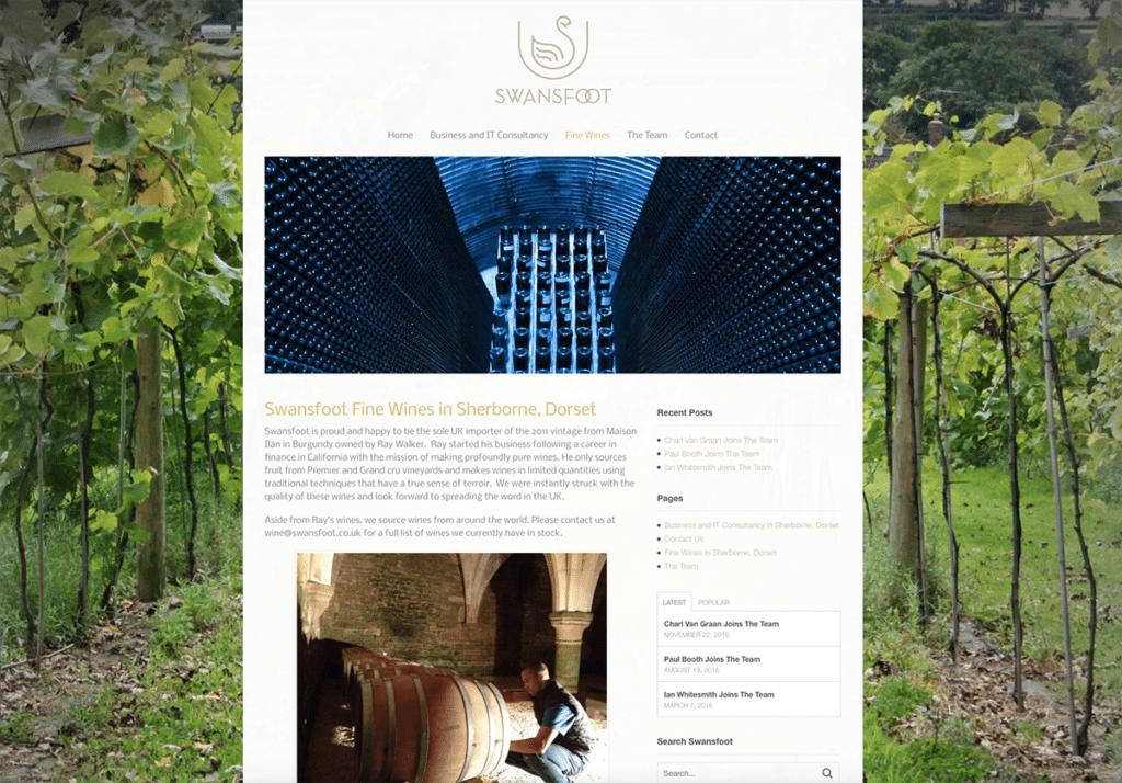 Swansfoot Fine Wines Website Design by Digiwool