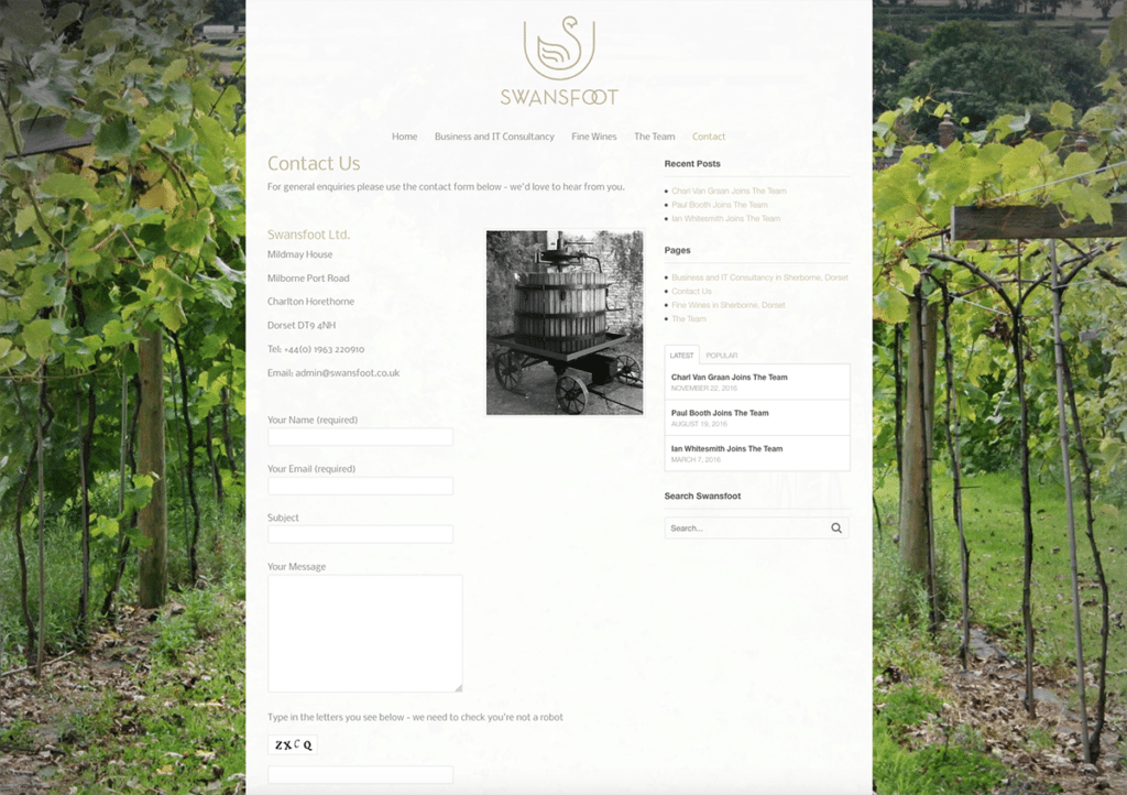 Swansfoot Contact Page Website Design by Digiwool