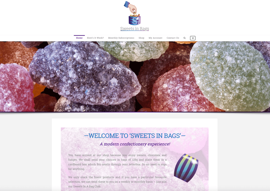 Sweets In Bags e-Commerce Web Design Dorset Home Page