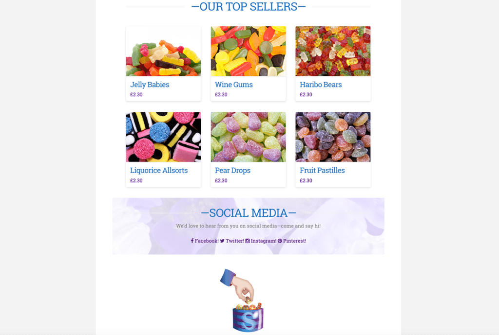 Sweets In Bags eCommerce Web Design Dorset Featured Products