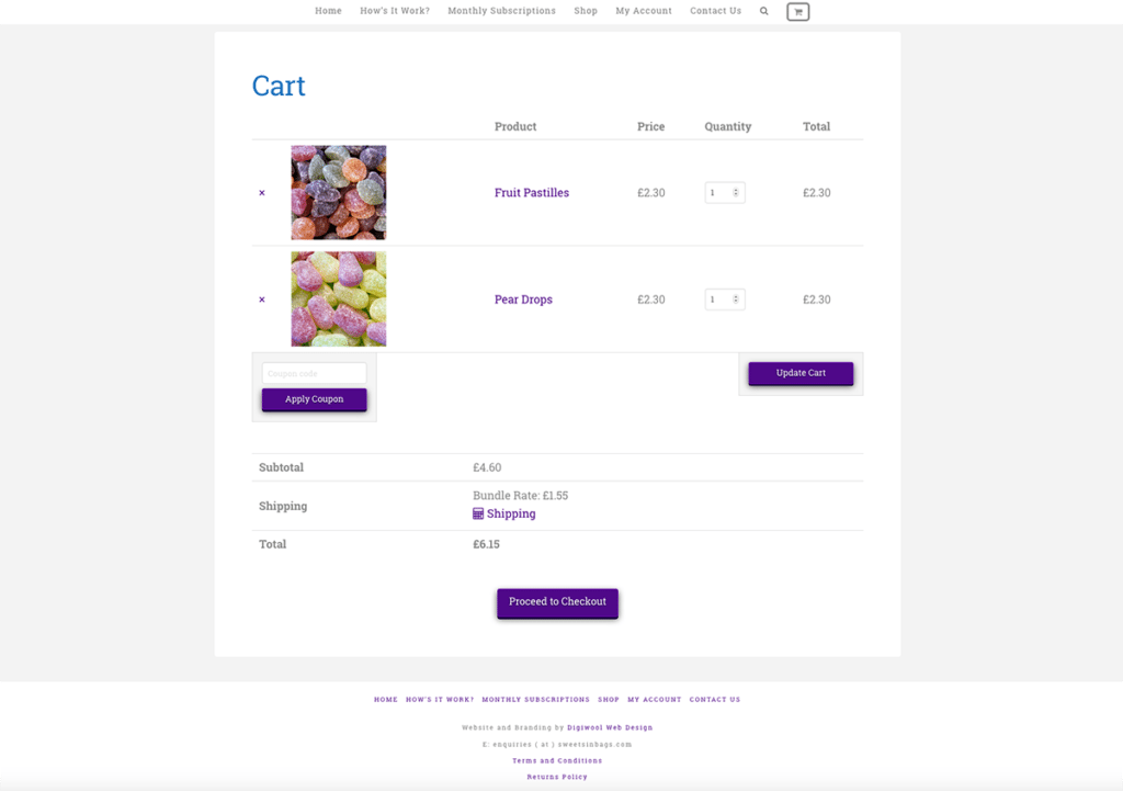 Sweets In Bags eCommerce Web Design Basket Cart