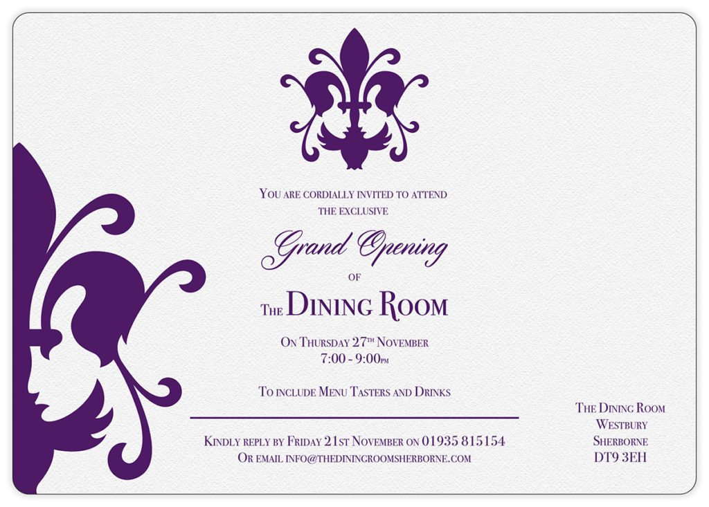 The Dining Room Sherborne Grand Opening Invitation Design by Digiwool