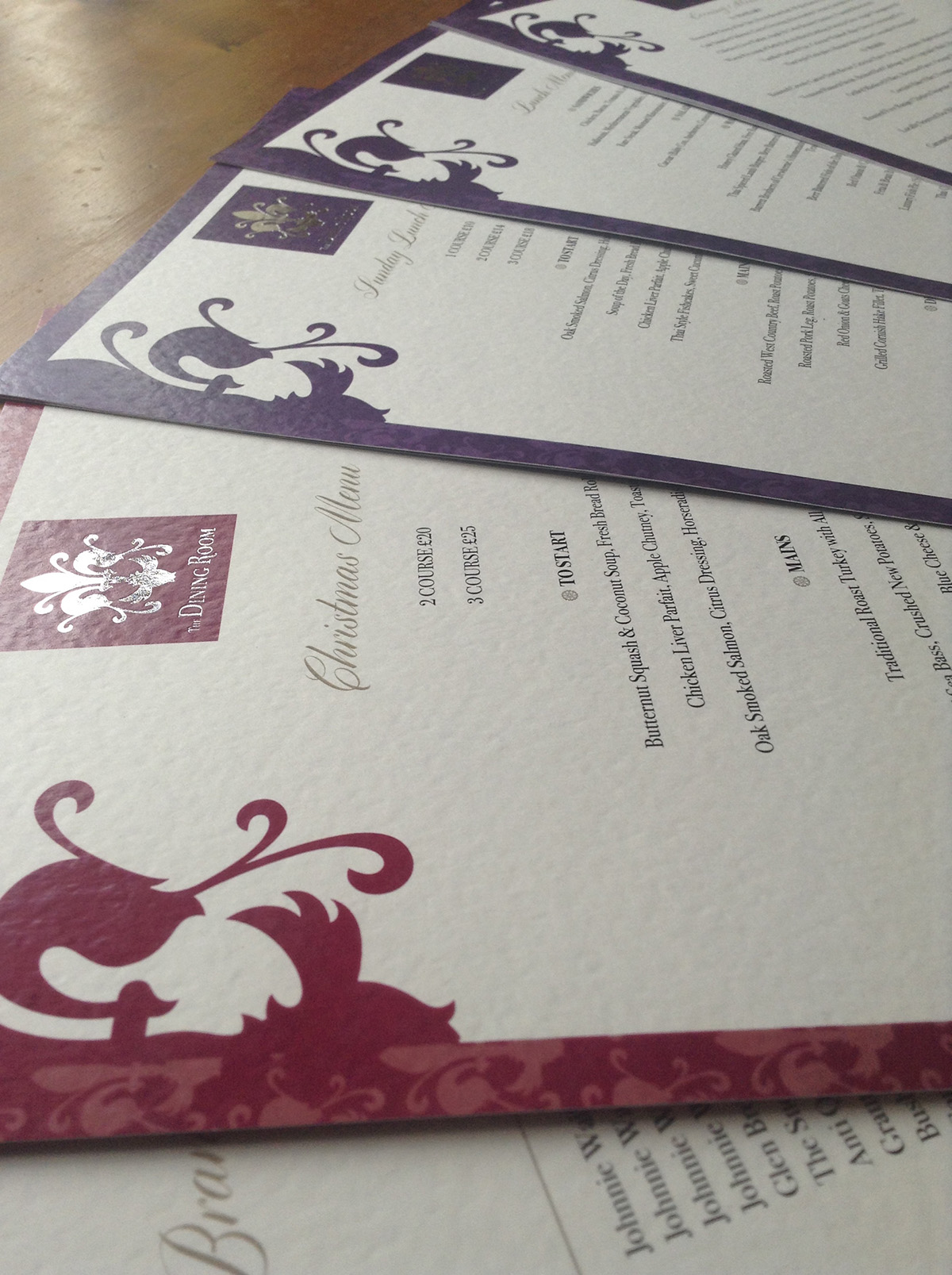 The Dining Room Sherborne Foil Bocked Christmas Menu Design by Digiwool