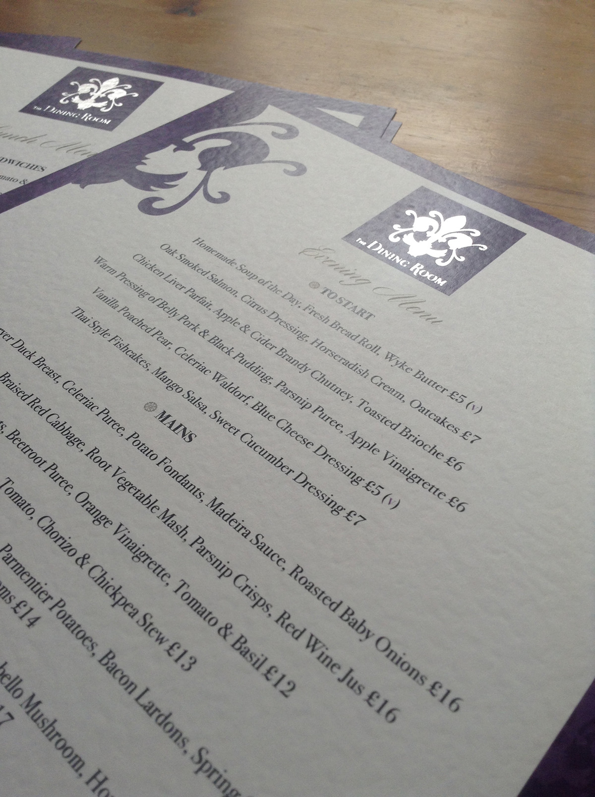 The Dining Room Sherborne Foil Bocked Menu Design by Digiwool