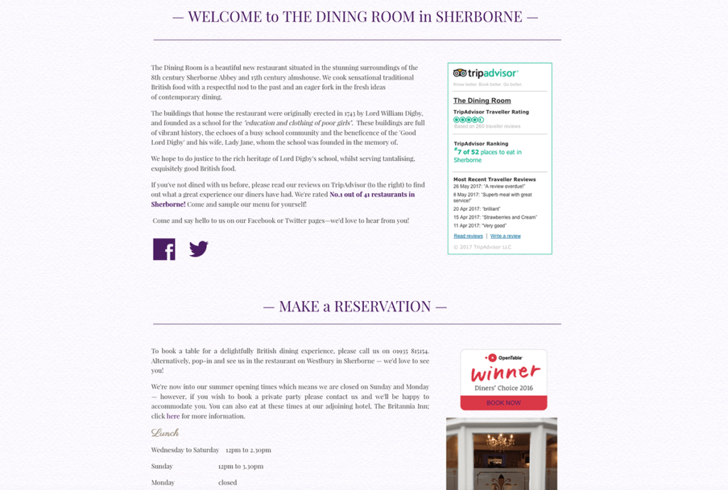 The Dining Room Sherborne Welcome Page by Digiwool Web Design