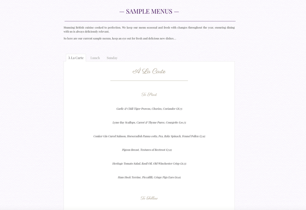 The Dining Room Sherborne Sample Menus by Digiwool Web Design