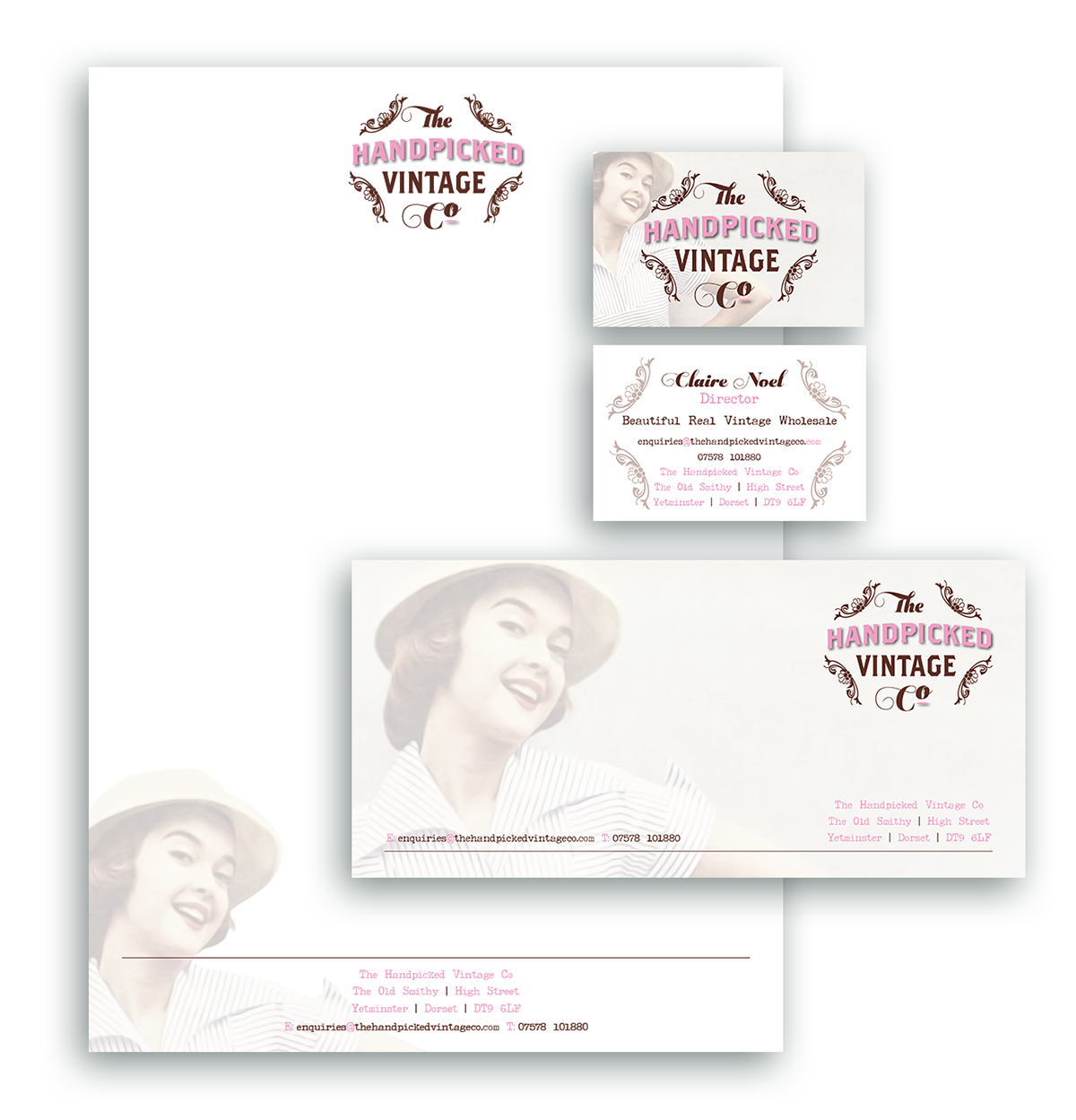 The Handpicked Vintage Co Letterhead Compliments Slip Business Card Design Sherborne