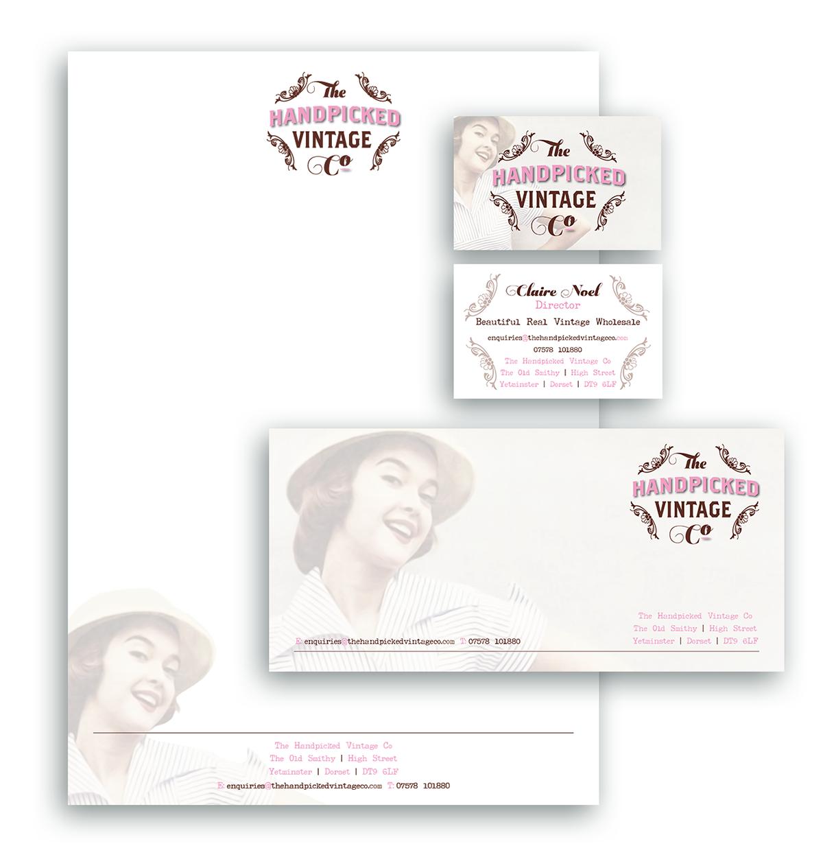 The Handpicked Vintage Co Letterhead Compliments Slip Business Card Design Sherborne